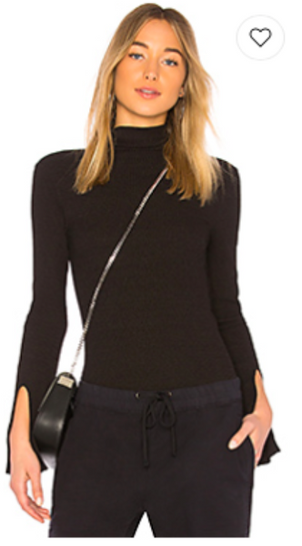 Enza Costa Rib Sleeve Turtleneck in Faded Black
