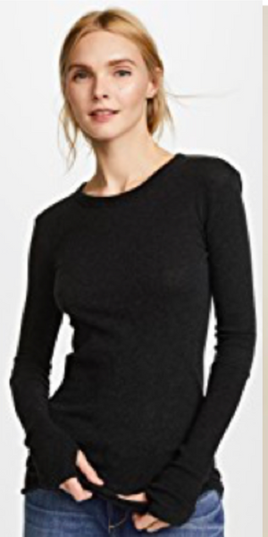 Enza Costa Cashmere Cuffed Crew in Black