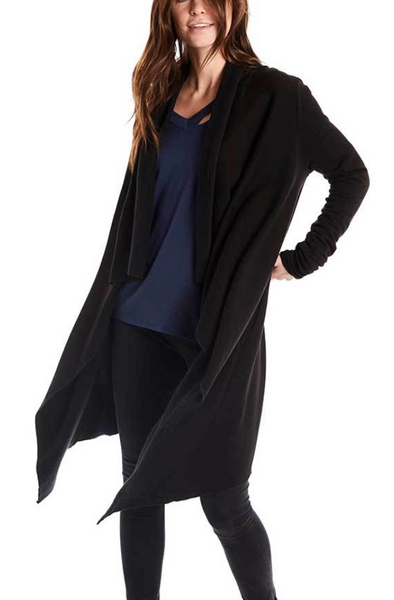 Estilo Austin Drape Cardigan in Black