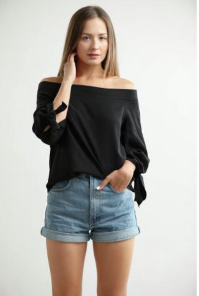 Central Park West Boulder Tencel Off the Shoulder Top with Tie Sleeves