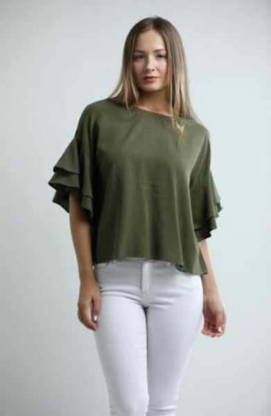 Central Park West Boulder Tencel Tee with Ruffle Sleeves