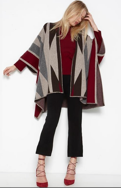 Brown Allan Navajo Poncho in Brown