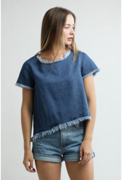Central Park West Chuparosa Cropped Frayed Denim Tee