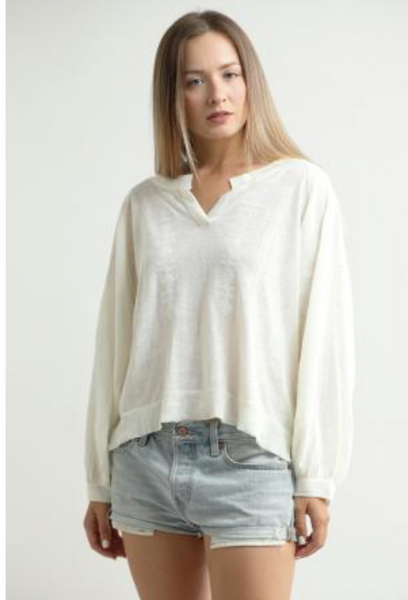 Central Park West Desert Lily Embroidered L/S Top in White