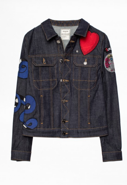 Zadig & Voltaire Kioky Brode Embroidered Denim Jacket