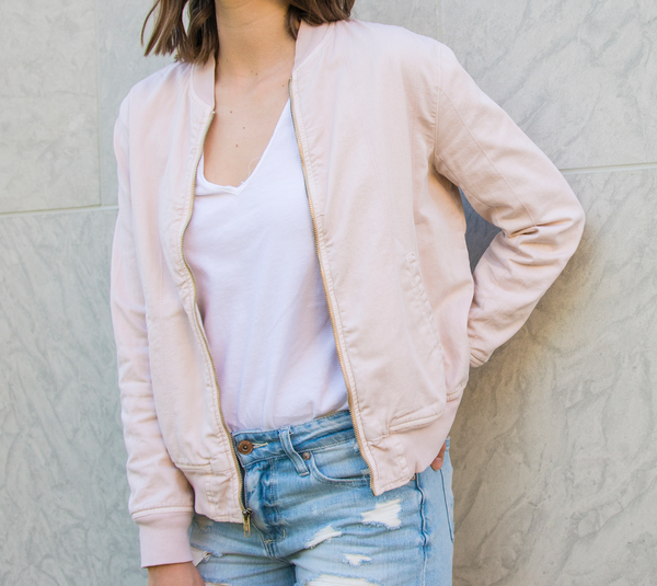 Monrow Quilted Bomber in Dusty Pink