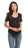Chaser Vintage Rib Scoop Neck Raglan Shirt in Union Black