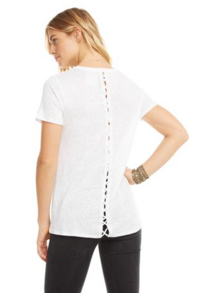 Chaser Short Sleeve Lace Up Back T Shirt