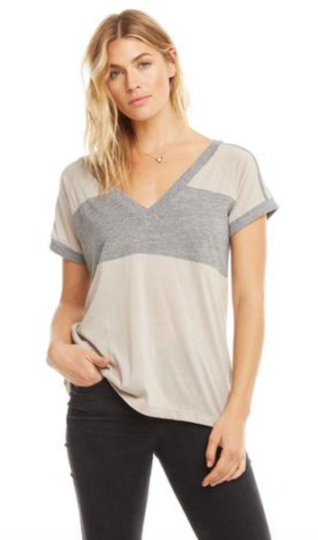 Chaser Blocked Jersey V Neck T Shirt