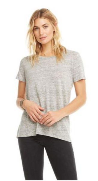 Chaser Linen Jersey Short Sleeve Lace Up Back Tee
