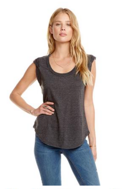 Chaser Vintage Triblend Roll Sleeve Scoop Neck Tee