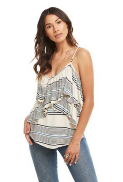 Chaser Cool Jersey Crossover Ruffle Cami