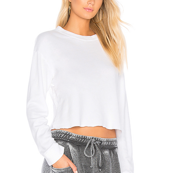 Monrow Mesh Back Sweatshirt in White