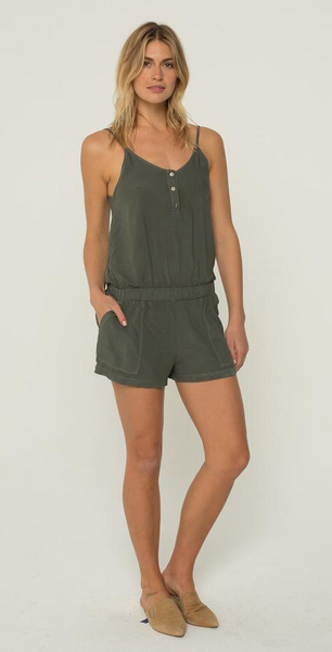 Monrow Henley Romper in Evergreen