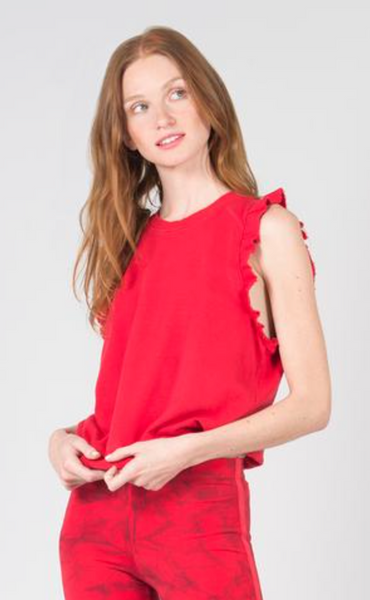 David Lerner Ruffle Sleeveless French Terry Pullover