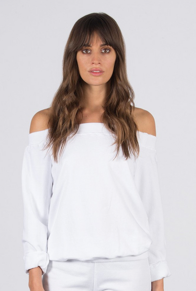 David Lerner Off Shoulder Pullover in White