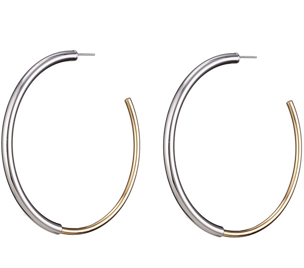 Jenny Bird Large Lola Hoops in Gold/Silver