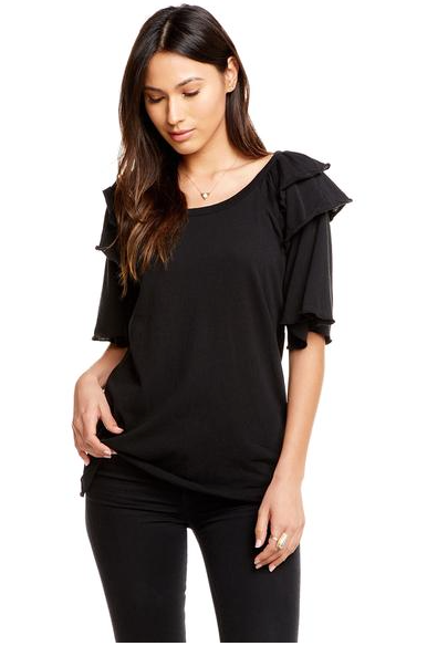 Chaser Gauzy Cotton Ruffle Shoulder Top