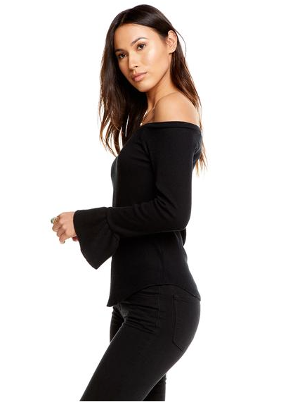 Chaser Love Off Shoulder Peplum Cuff Top