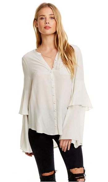 Chaser Silk Tiered Sleeve Button Up Top