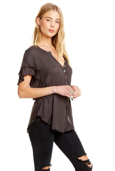 Chaser Heirloom Flouncy Short Sleeve Top