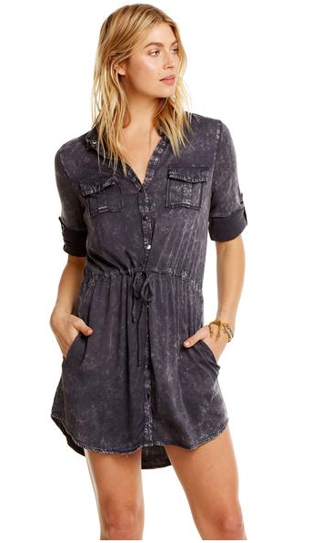 Chaser Roll Up Sleeve Button Down Dress