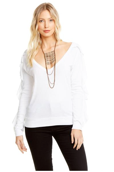 Chaser V Neck Ruffle Long Sleeve Pullover