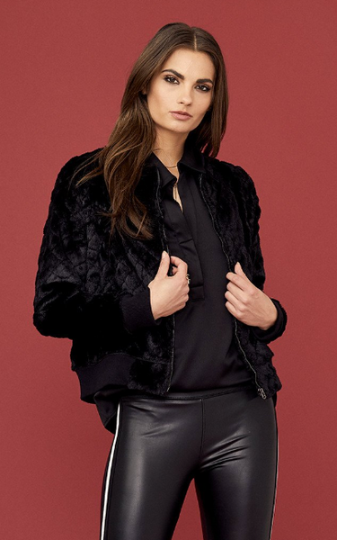 David Lerner Quilted Faux Fur Bomber