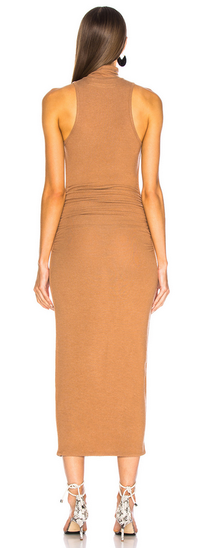 Enza Costa Sleeveless Ruched Turtleneck Dress