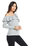 Chaser Love Rib Ruffle One Shoulder Top
