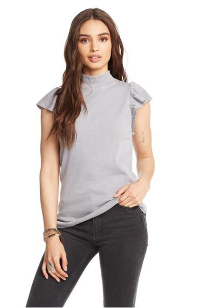 Chaser Vintage Rib Mock Neck Top in Steel
