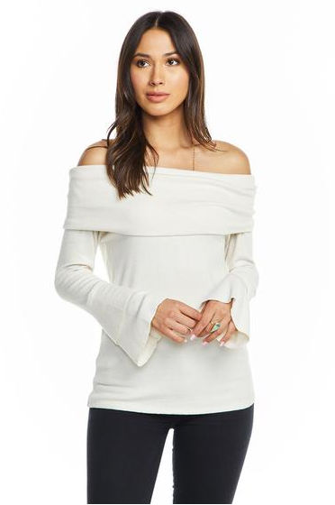 Chaser off the Shoulder Peplum Sleeve Top