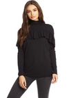 Chaser Funnel Neck Ruffle Front Top