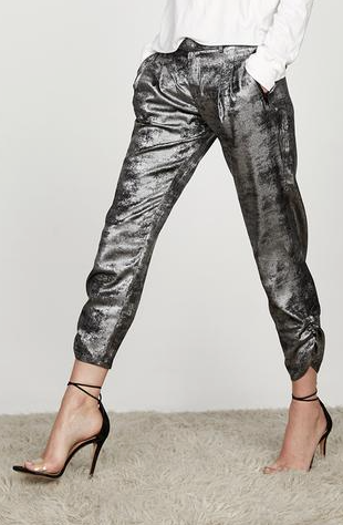 David Lerner Silky Metallic Ruched Joggers