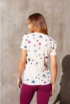 Monrow Relaxed V Neck Top with Stars