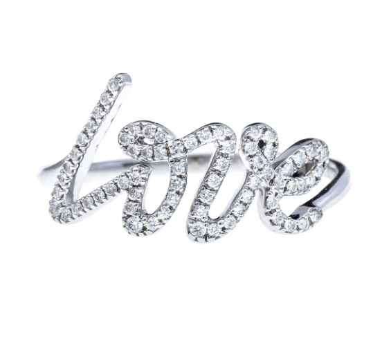 Mizana White Gold Love Ring