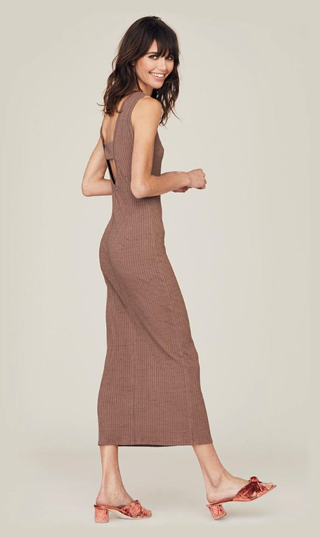 David Lerner Ribbed Scoop Back Midi Dress