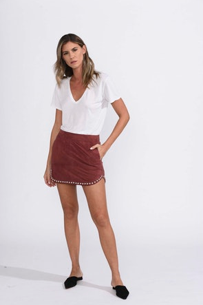 Karina Grimaldi Florence Studded Skirt in Rust