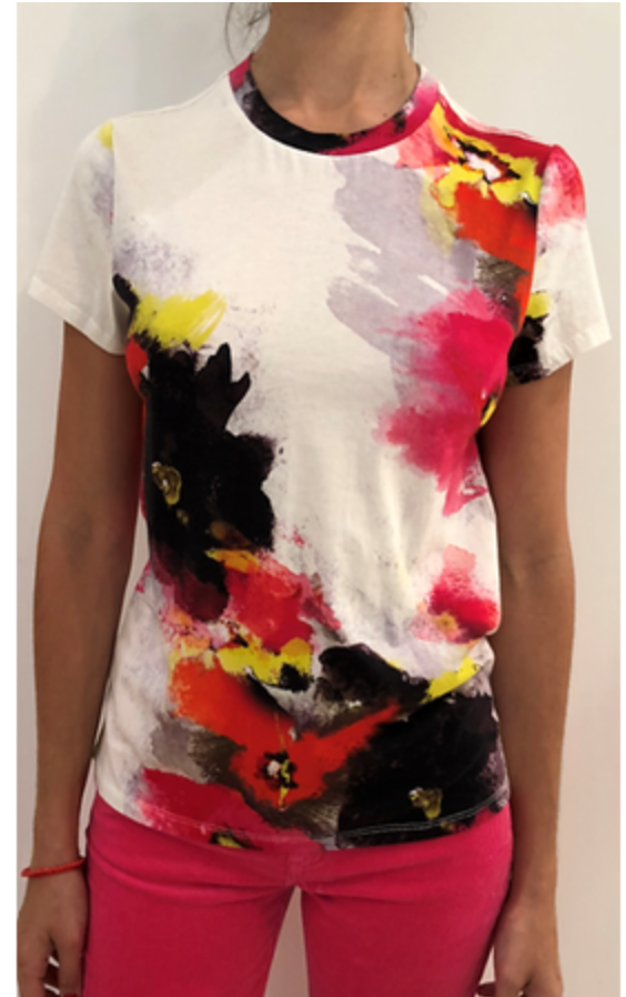 Pam & Gela Watercolor Floral Basic Crew Tee