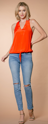 Lavender Brown Neon Orange Tank
