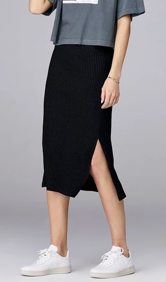 David Lerner Midi Skirt in Ribbed Knit