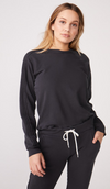 Monrow Pintuck Raglan Sweatshirt in Black