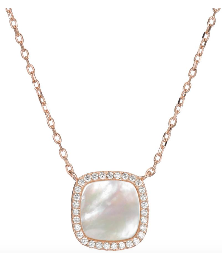 Ashley Schenkein Pave and Mother of Pearl Square Necklace in CZ Rose Gold