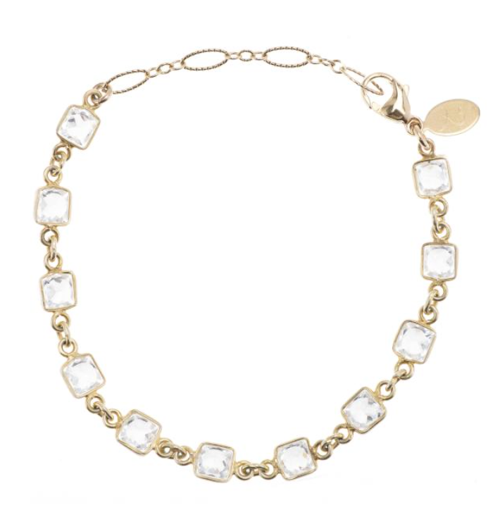 Ashley Schenkein Bridal Princess CZ Bracelet in Gold