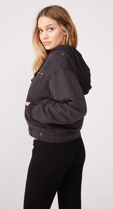 Monrow Hooded Moto Jacket