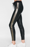 Pam & Gela Leather Leggings with Pewter Stripe