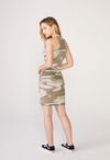 Monrow Oversized Camo Tank Shirred Dress