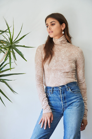 Rachel Pally Basic Turtleneck in Snake