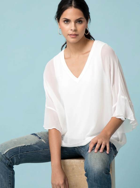 Go Silk Sheer Romance Top in White