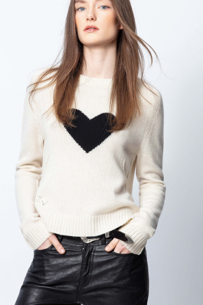 Zadig & Voltaire Lili Heart Cream Sweater